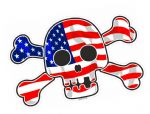 Pirate Style SKULL & CROSSBONES With American Stars & Stripes US Flag Motif External Vinyl Car Sticker 128x84mm